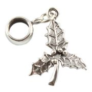 Holly Leaf 3D Sterling Silver Dangle Charm / Carrier Bead - Christmas